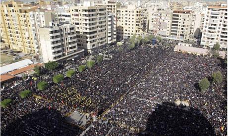 Lebanese Hezbollah supporters, gather to listen to the speech of Hezbollah leader Sheik Hassan Nasra