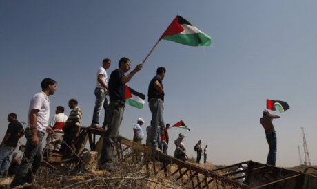 Palestinians hold flag
