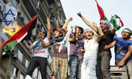 Egyptians protesting outside the Israeli embassy (Photo by Reuters)