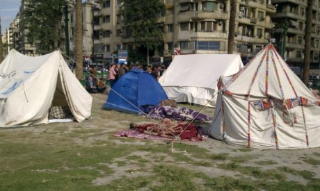 Tents already set up in Tahrir Square in preparation for Friday
