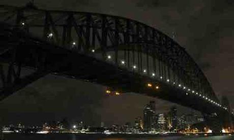 Sydney Harbour Bridge during Earth Hour (AP)