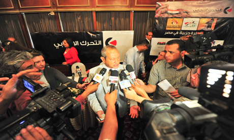 Engineer Naguib Sawiris speaking to the press – Photo by Mohamed El Hebeishy