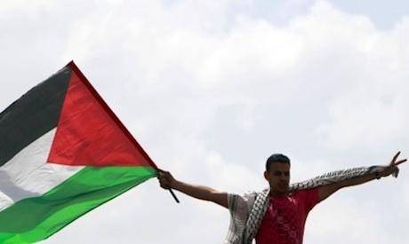 Palestine flag over Cairo