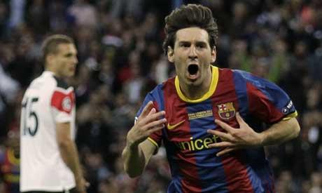 Messi celebrates after scoring
