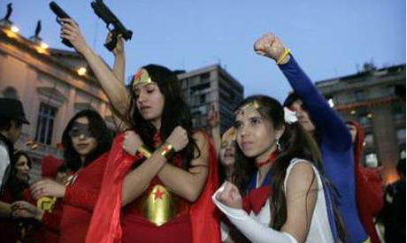 Chilean students dress as superheroes as they take over their schools