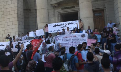 Students protest at Cairo University (Photo by: Mai Shaheen)