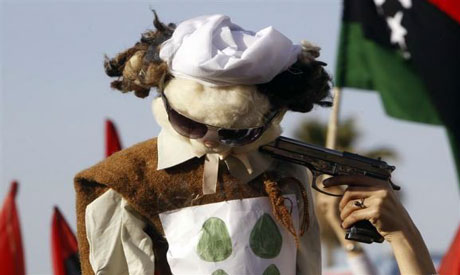 An effigy of Gaddafi