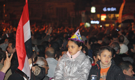Egyptians welcome 2012 in Tahrir Square (Photo: Mai Shaheen)