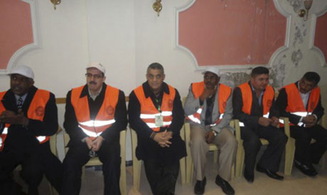 Arab League observers are pictured during a visit to Zabadani