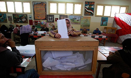 Woman votes in the last parliamentary elections in Egypt