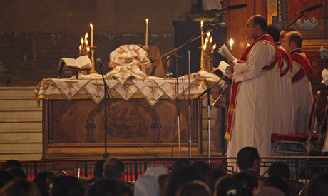 Christmas Eve 2012 at the Coptic Cathedral in Abassiya (Photo: Mai Shaheen)