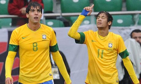 Kaka, Neymar on target in Brazil