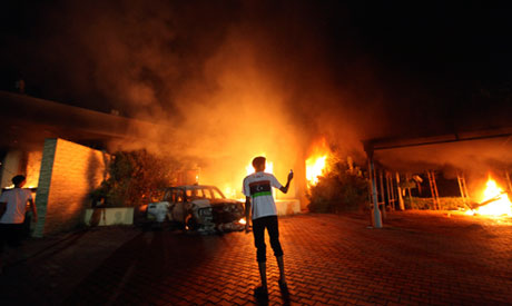 Benghazi consulate in flames