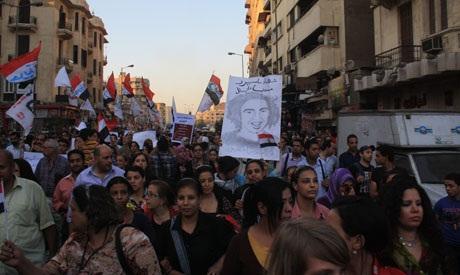 Protesters march on Maspero from Dawaran Shubra Square (Photo: Mai Shaheen)