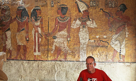 A painted wall of Tutankhamun