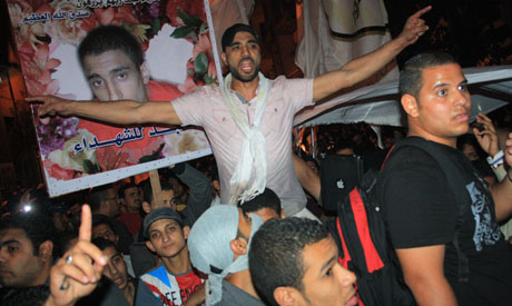 Demonstrators march in memory of Mohamed Mahmoud
