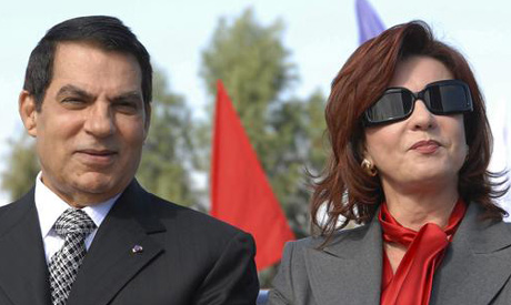 Ben Ali and his wife Leila