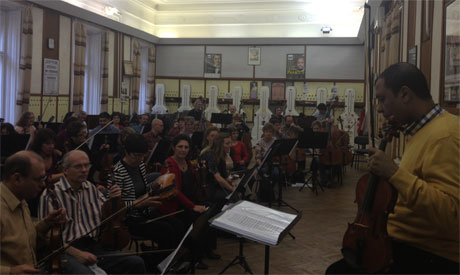 Yasser Abdel Rahman in the rehearsal with the Budapest Symphony Orchestra