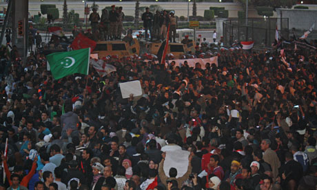 Thousands of protesters gather near defence ministry
