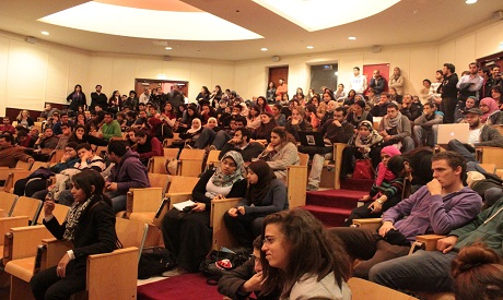 AUC Students attending activists lecture in AUC