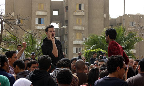 Academy of New Cairo students support GUC students (Photo: Nada El-Kouny)