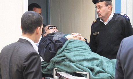 Mubarak arriving to the court