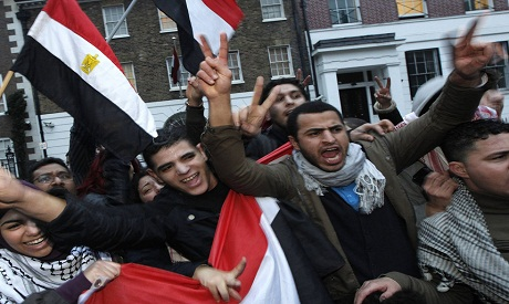 Egyptian Expats in front of Egyptian embassy in 2011