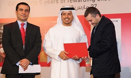 Rabee Jaber while receiving the IPAF award