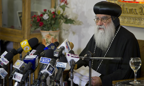 Interim Coptic pope Bishop Bakhomious at church press conference on presidential elections (Photo: Bassam El-Zoghby)
