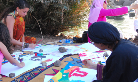 Art therapy in Heisa Island, Aswan (Photo: Rowan El Shimi)
