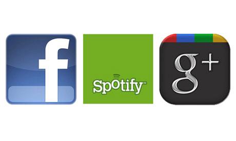 Facebook, Spotify,Google+