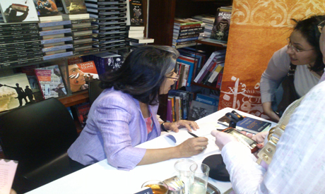 Soueif signing her book earlier this month in Cairo