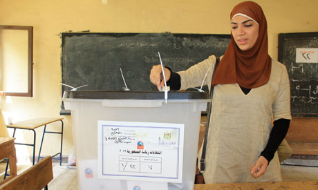 A young women voting in a school in Nazlet el Semman (Photo: Mai Shaheen).