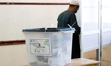 A man casts his vote inside poll station in Kafr El-Sheikh (Photo: Osman Elsharnouby)