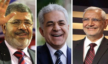 Morsi, Sabbahi and Abul Fotouh (AP)