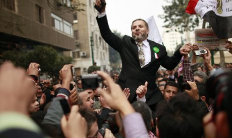 Muslim Brotherhood supporters celebrate outside Egypt