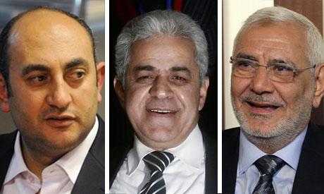 Khaled Ali, Hamdeen Sabbahi and Mohamed Abul-Fotouh