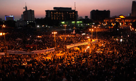 Egyptian protesters fill Tahrir Square,Tuesday (AP)