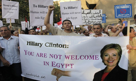 Egyptians protest against Hilary Clinton
