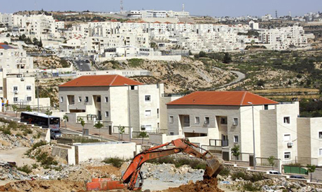 Houses under construction in the West Bank Jewish settlement