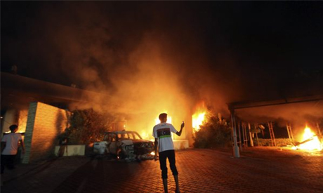The U.S. Consulate in Benghazi in flames (Photo: Reuters)