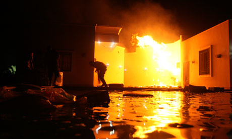 Mob sets fire to US consulate in Benghazi, staffer dies