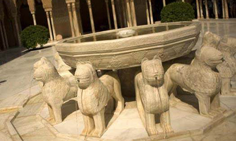 The Fountain of the Lions back to it place in the Alhambra - Photo by AFP