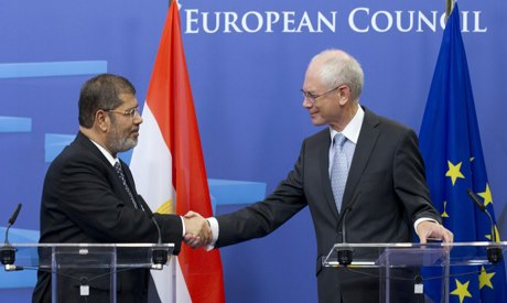 European Council President Herman Van Rompuy and President Mohamed Morsi