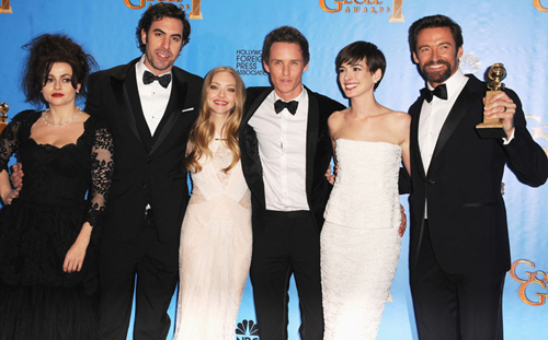 Cast of Les Misérables after they won for best film (musical or comedy). Photo: AFP