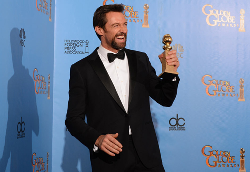 Hugh Jackman, best actor in a comedy or musical. Photo: AFP