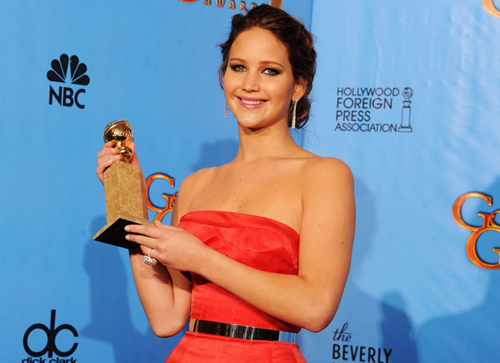 Jennifer Lawrence wins Golden Globe for best actress. Photo: AFP