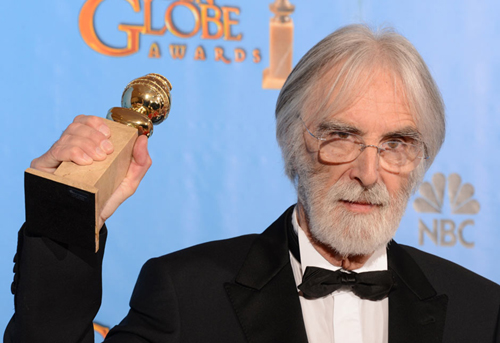 Michael Haneke with award for