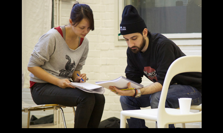 Carissa Hope Lynch and Omar El-Khairy look over the script. Photo credit: Dan Patrick