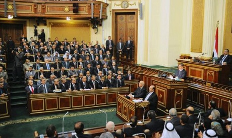 Egyptian President Mohamed Mursi delivers a speech to the Shura Council, or upper house of parliamen